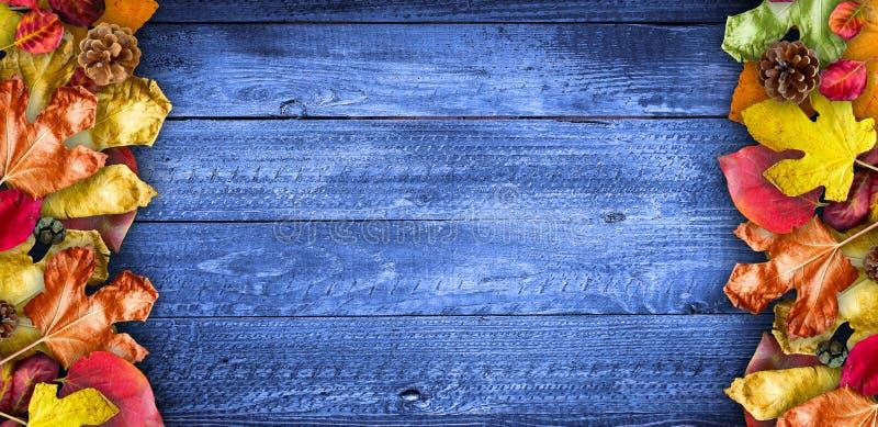 在自然黑暗的木背景的秋叶 老肮脏的木桌或木条地板 免版税库存照片