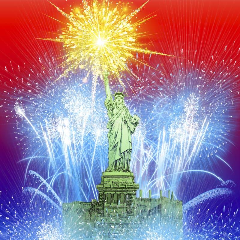 在自由女神像的美丽的五颜六色的假日烟花 向量例证