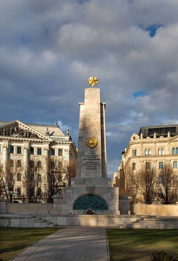 在自由正方形的苏联纪念碑,布达佩斯,匈牙利 免版税库存照片