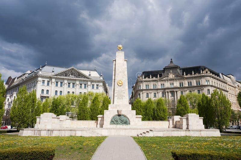 在自由正方形的苏联纪念碑,布达佩斯 免版税库存照片