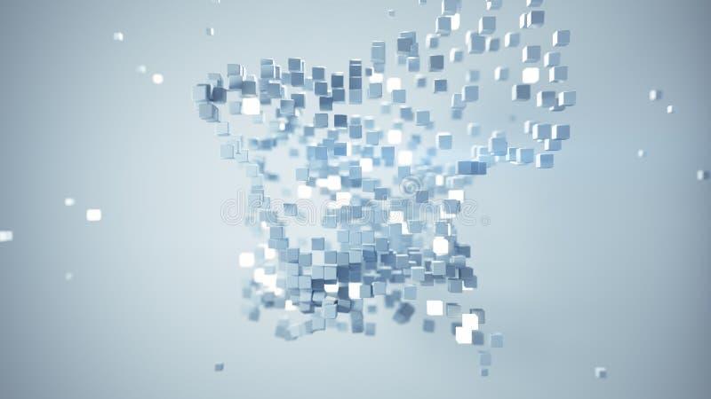 在自由空间摘要3D的立方体微粒回报 皇族释放例证