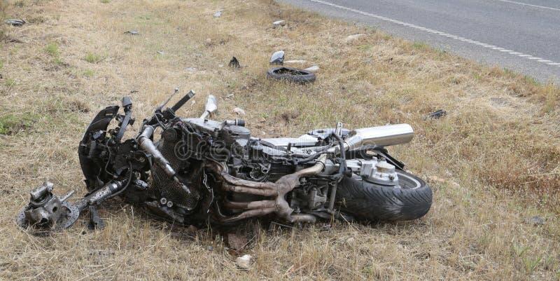 在自行车崩溃事件的细节在马略卡 库存照片