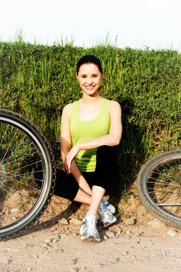 在自行车的休闲在夏天 免版税图库摄影