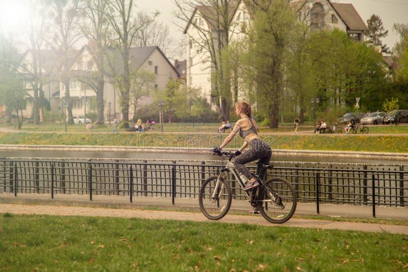 在自行车的女孩移动 库存照片