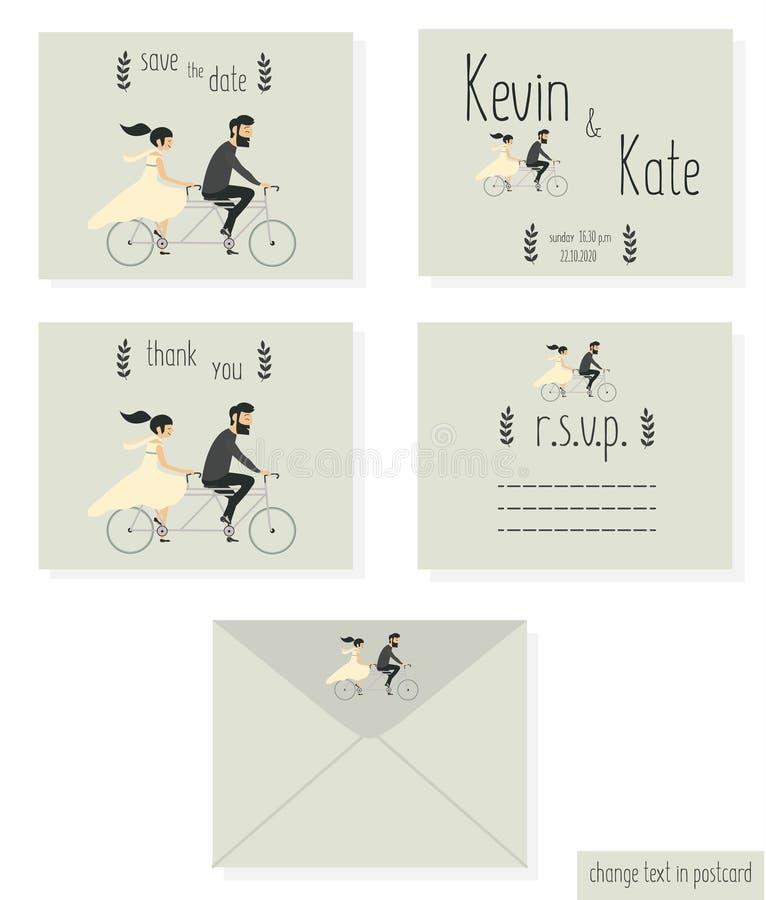 在自行车的婚礼夫妇 向量例证