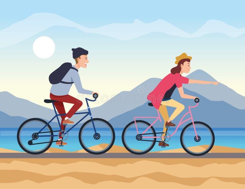 在自行车的年轻夫妇旅行 向量例证