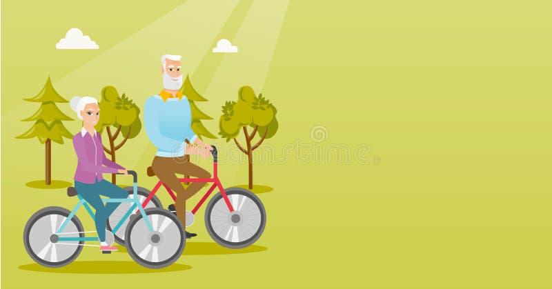 在自行车的愉快的资深夫妇骑马在公园 皇族释放例证