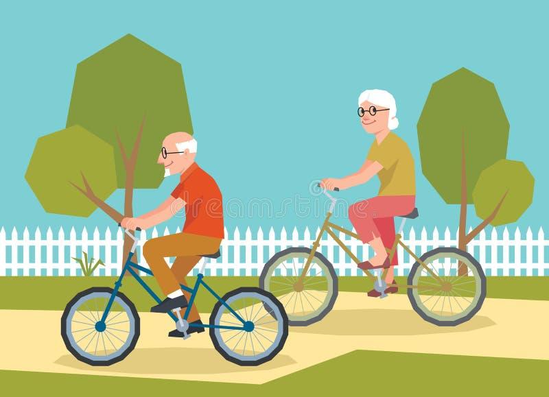 在自行车的成熟夫妇骑马 向量例证