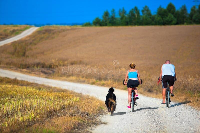 在自行车的成熟夫妇 库存照片