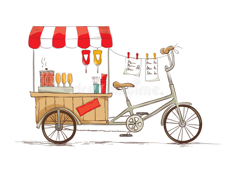 在自行车的热狗 库存例证