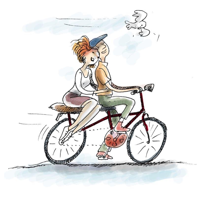 在自行车的爱 向量例证