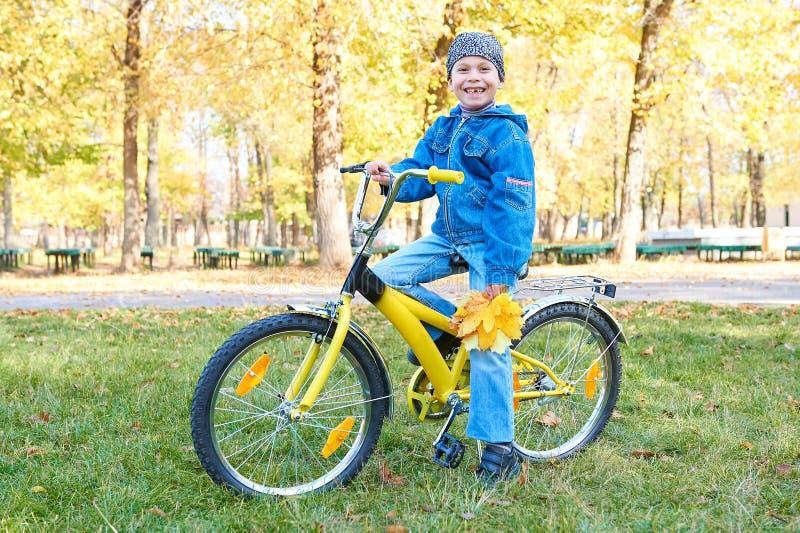 在自行车的男孩骑马在秋天公园,明亮的晴天,在背景的下落的叶子 免版税库存图片