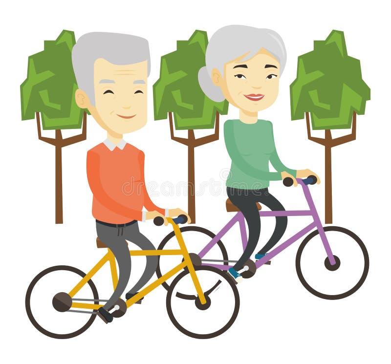 在自行车的资深夫妇骑马在公园 向量例证