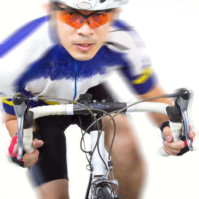 在自行车的Cycler骑马 免版税库存图片