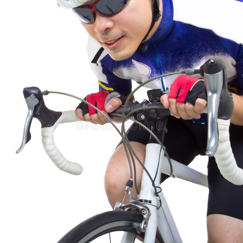 在自行车的Cycler骑马 图库摄影