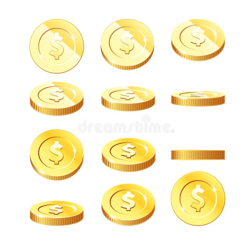 在自转阶段设置的金黄硬币-飞行的硬币用不同的位置 皇族释放例证
