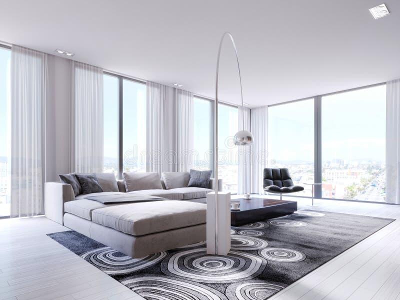 在舒适的壁角沙发的坐垫有扶手椅子和全景窗口的在当代生活 向量例证