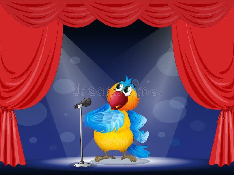 在舞台中心的一只鹦鹉 向量例证