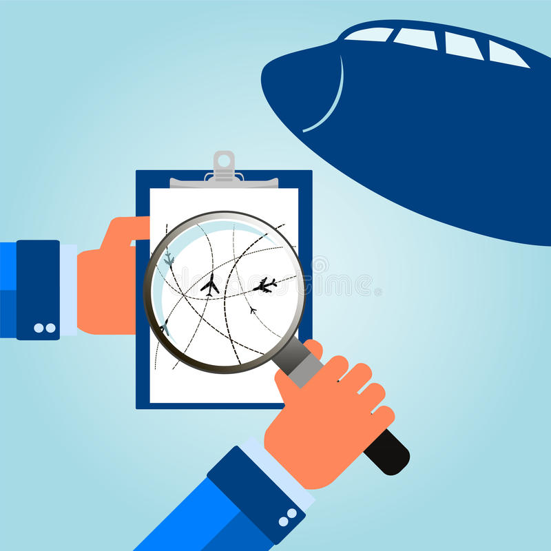 在航空波音云彩旅行翼之上 在他们的目的地路线的飞机 向量例证