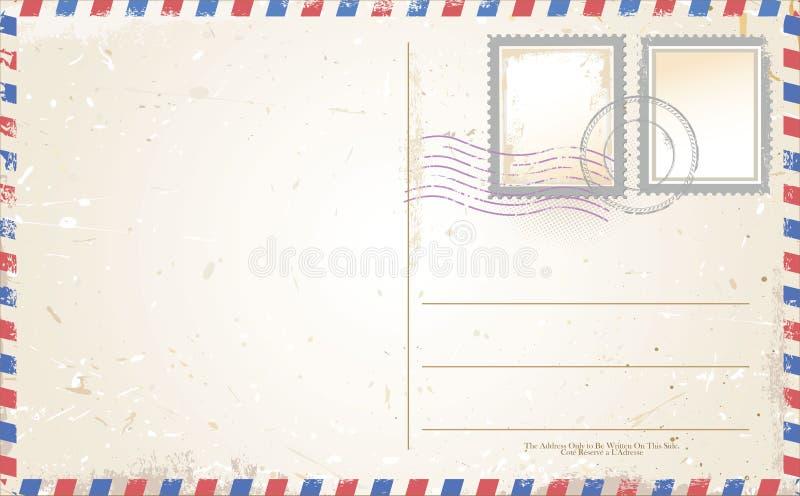 在航空邮件样式的明信片传染媒介 库存例证
