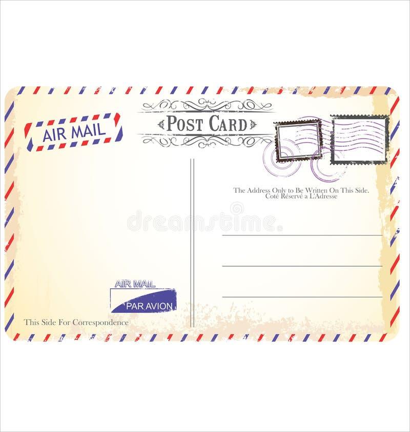 在航空邮件样式的明信片 向量例证