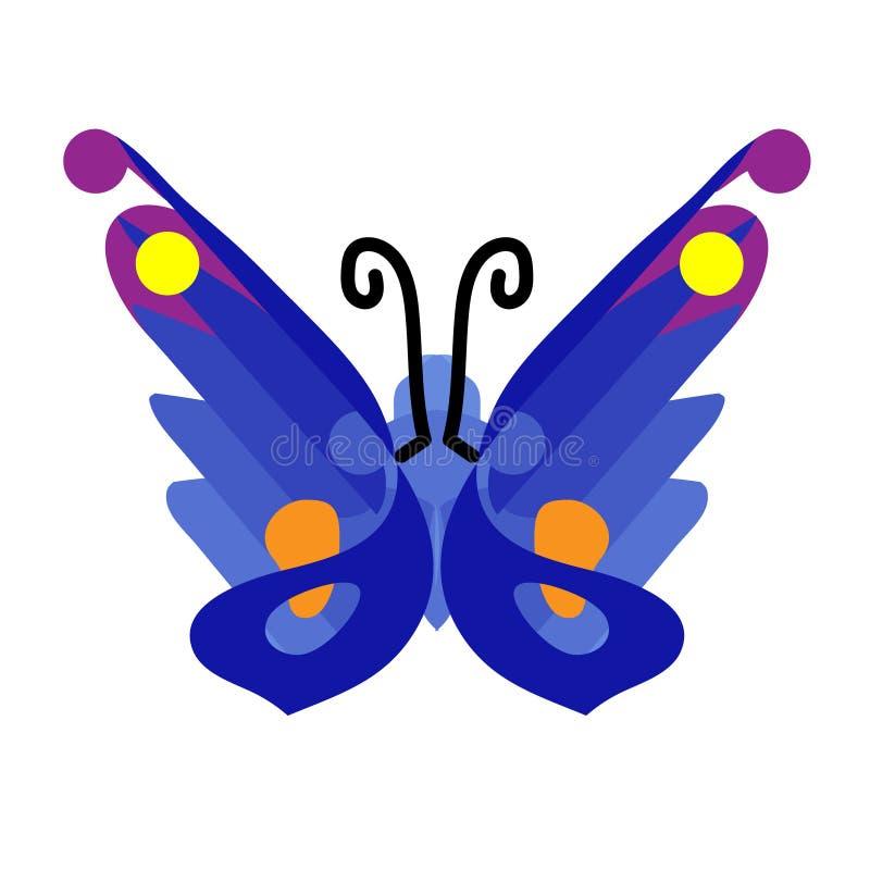 在舱内甲板的蝴蝶象 蓝色蝴蝶象 设计元素,标志,标志 背景剪报查出的对象路径白色 向量Illustratio 皇族释放例证