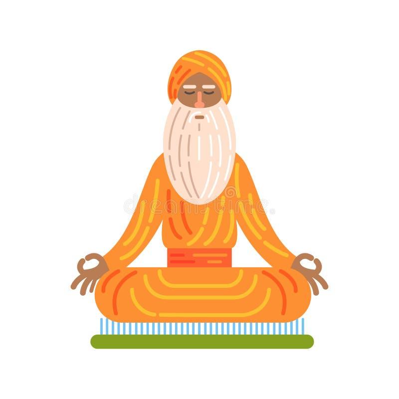 在船上坐与在莲花姿势,著名传统旅游标志的钉子的信奉瑜伽者 皇族释放例证