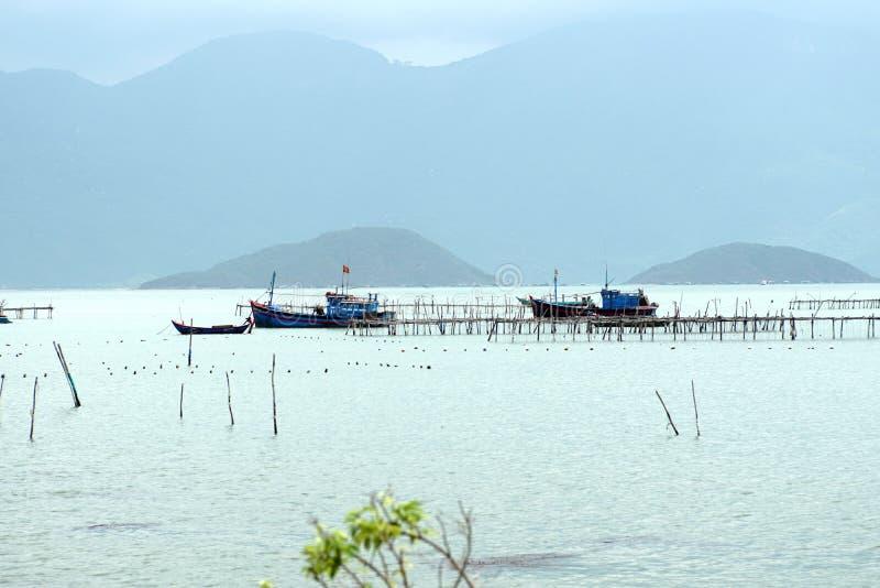 在船坞的渔船 库存图片