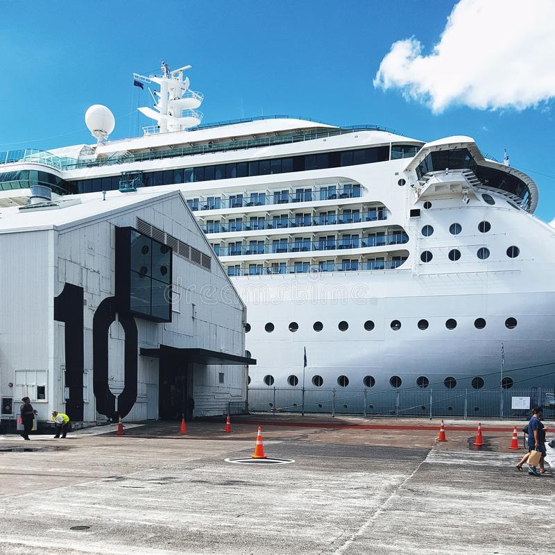 在船坞的白色和平的巡航划线员在奥克兰港口 免版税库存照片