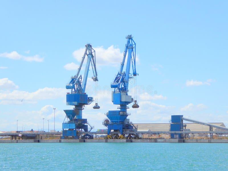 在船坞边的港口起重机 免版税库存图片
