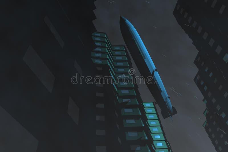 在船摩天大楼的航空 库存照片
