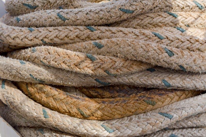 在船特写镜头的绳索 免版税库存照片