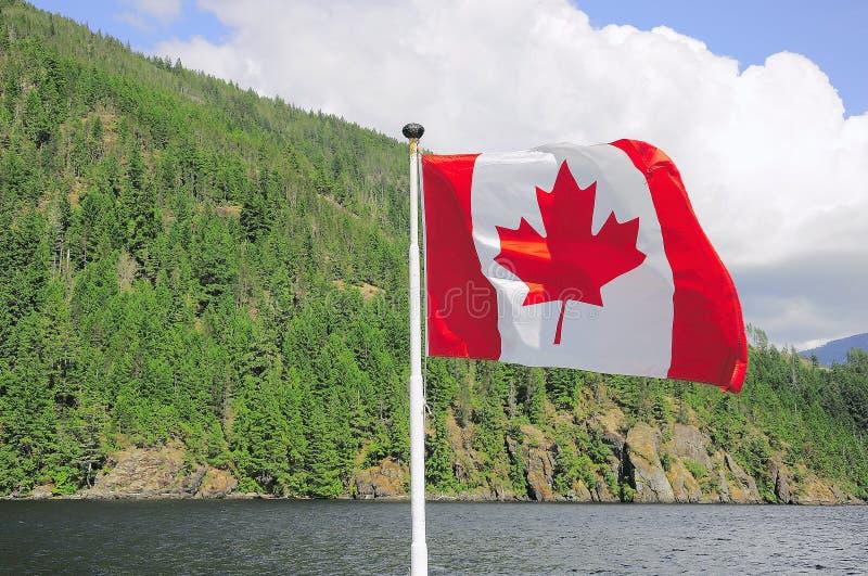 在船的加拿大旗子 库存图片