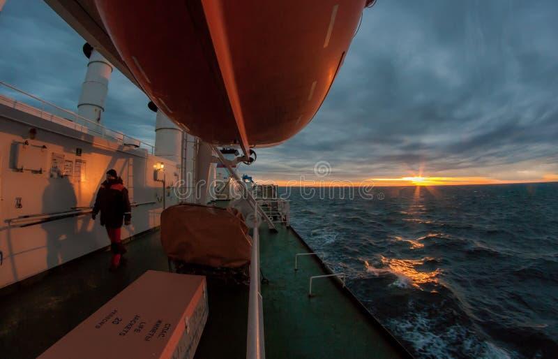 在船的风雨如磐的早晨 库存图片