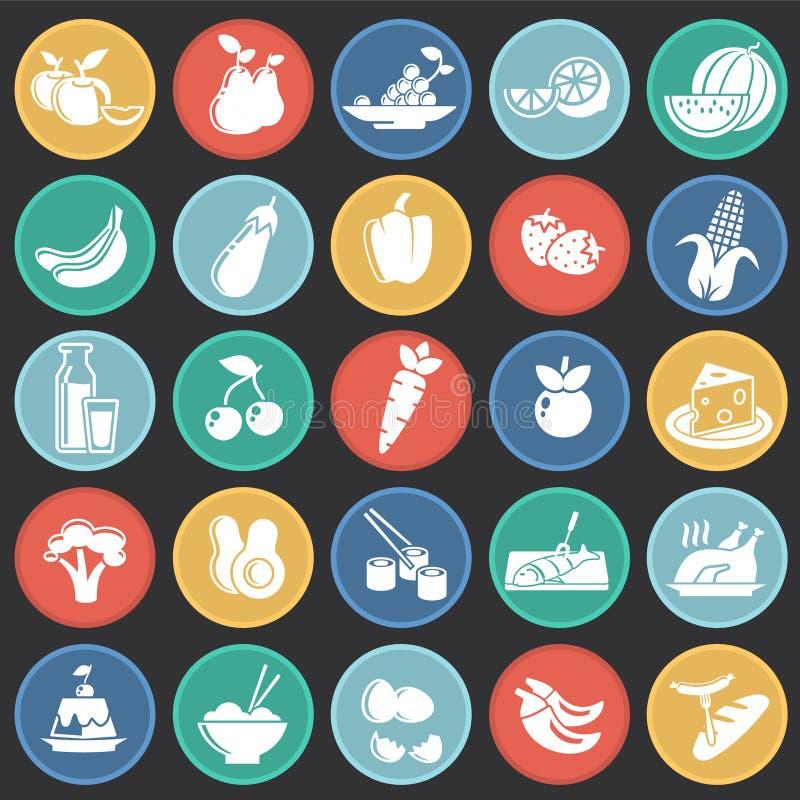 在色环黑背景的健康食品象图表和网络设计的,现代简单的传染媒介标志 背景蓝色颜色概念互联网 库存例证