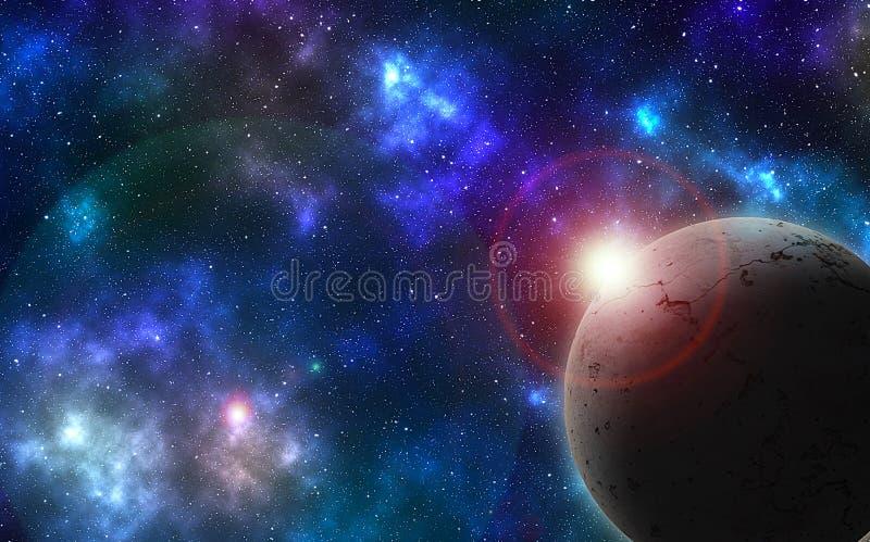 在色的天空的织地不很细行星 皇族释放例证