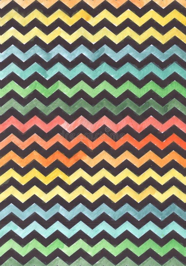 在色的背景的之字形 水彩颜色背景 在色的背景的黑之字形 皇族释放例证