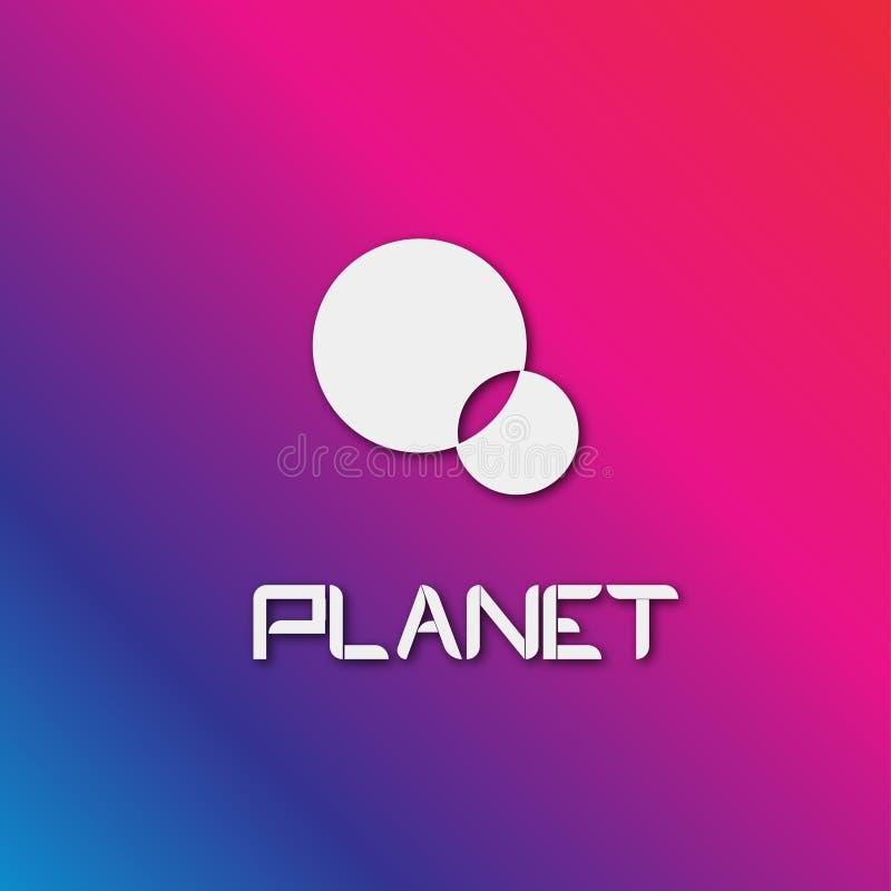 在色的背景的商标白色行星圈子 库存例证