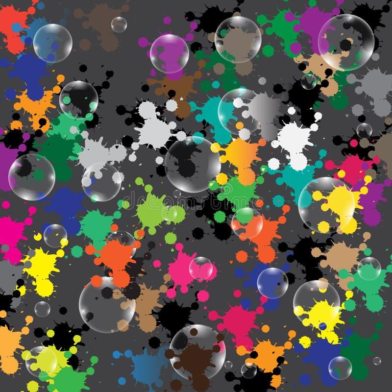 在色的背景的泡影 库存例证