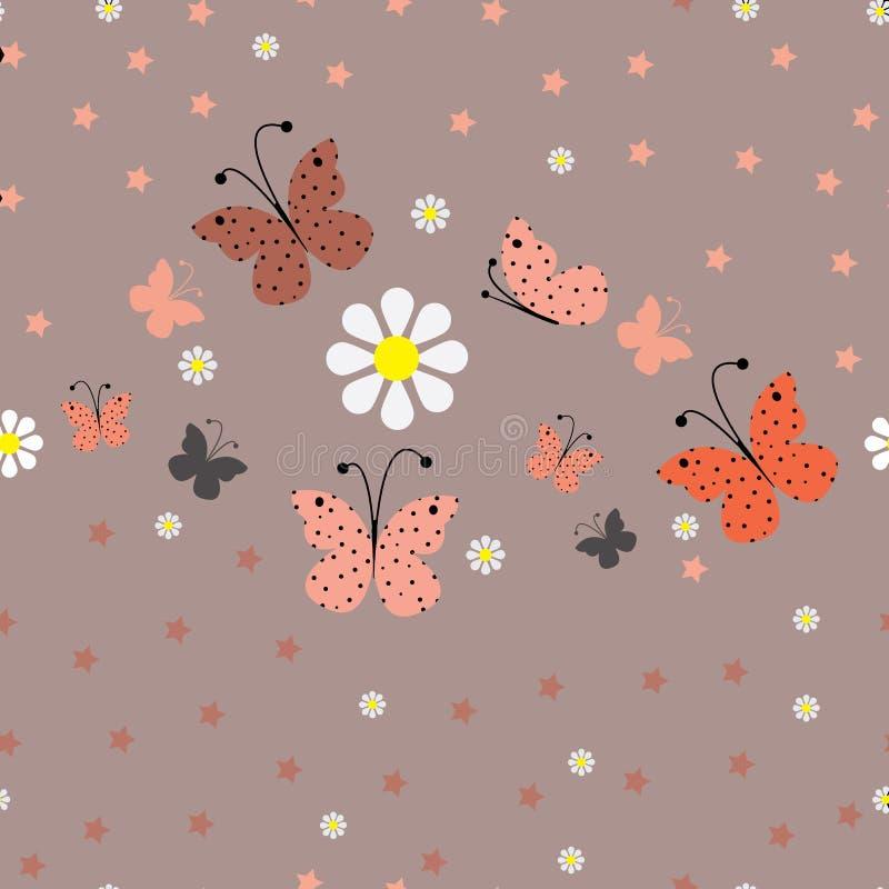 在色的背景的海星蝴蝶 无缝的蝴蝶 向量例证
