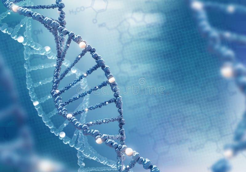 在色的背景的脱氧核糖核酸螺旋 库存例证