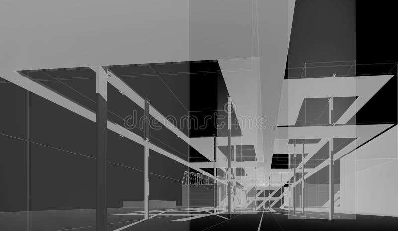 在艺术和建筑学(概念项目)的国立学院的博物馆里面 皇族释放例证