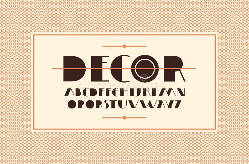 在艺术装饰样式的装饰Sans Serif字体 向量例证