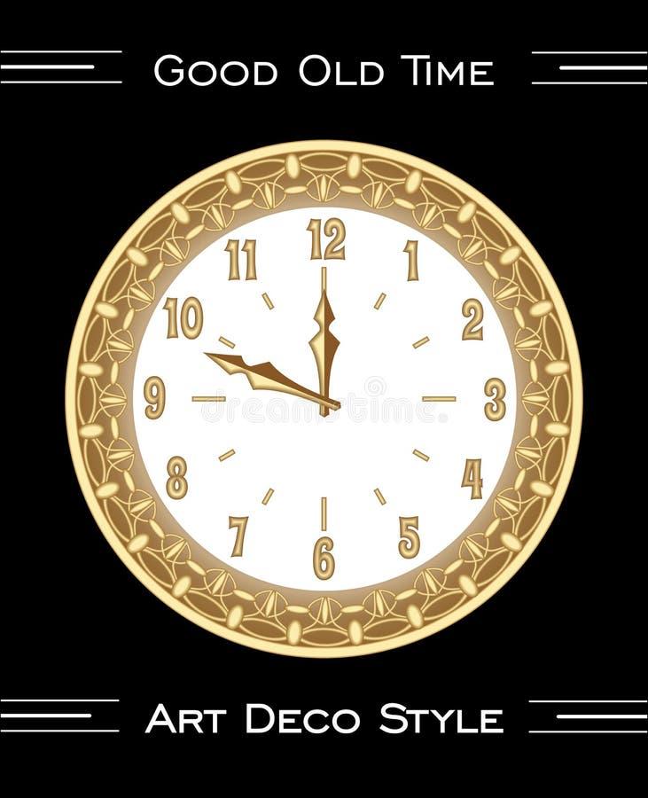 在艺术装饰样式,在黑背景,与金银细丝工的豪华金黄金属的被隔绝的富有的装饰的对象的时钟 免版税图库摄影