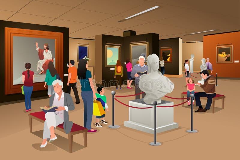 在艺术馆的人们里面 向量例证