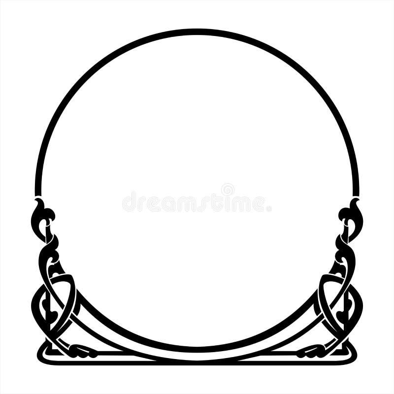 在艺术Nouveau样式的圆的装饰框架 库存图片