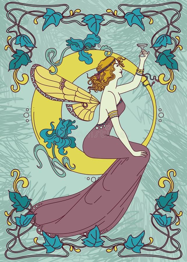 在艺术nouveau样式的美丽的海报与神仙的妇女和月亮和花卉框架 皇族释放例证