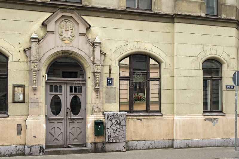 在艺术Nouveau样式的老公寓 拉脱维亚里加 免版税库存照片