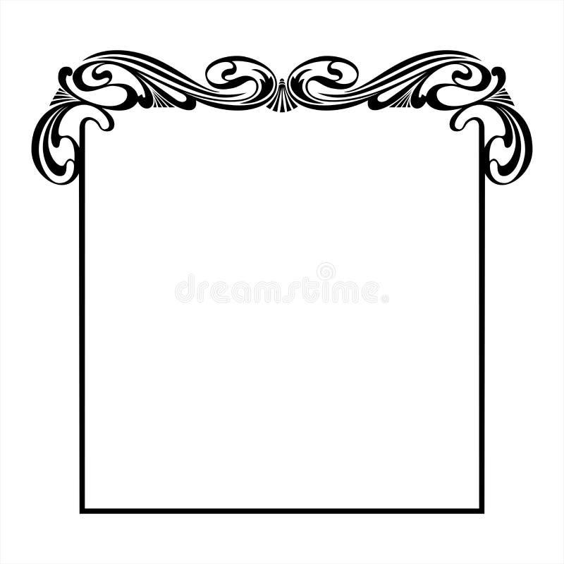 在艺术Nouveau样式的装饰方形的框架 免版税库存照片