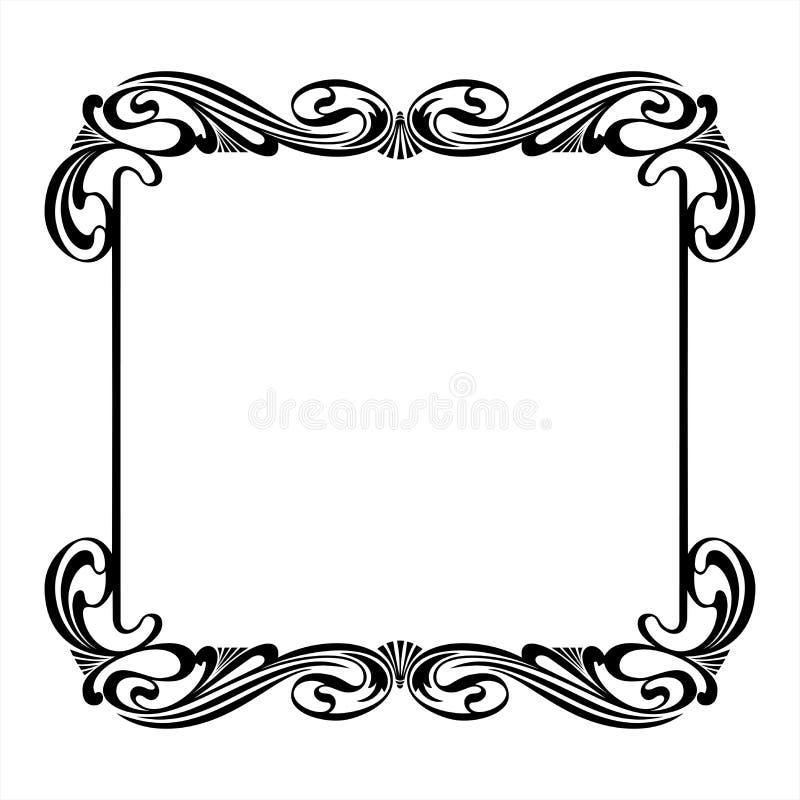 在艺术Nouveau样式的黑装饰方形的框架 向量例证